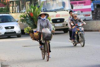 Flower Lady navigating Hanoi traffic